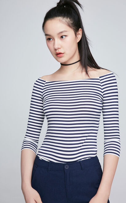 ONLY Women's Spring Off-the-shoulder Elbow Sleeves Slim Fit Striped T-shirt 117130538, Aqua, large