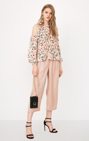 ONLY Summer Women's Pleated Floral Off-the-shoulder Long-sleeved Chiffon Shirt|118151520