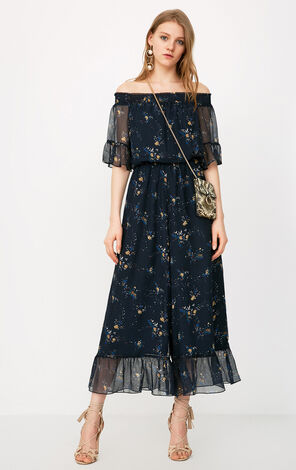 ONLY2019 women's spring new off-shoulder floral chiffon jumpsuit | 118144502
