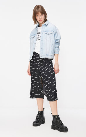 ONLY Summer New Women's Loose Fit Ripped Paillette Print Denim Jacket