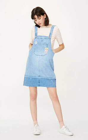 ONLY Spring Raw-edge Big Pocket Denim Dress |117242501