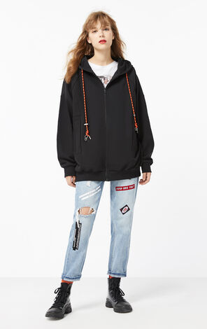 ONLY2019winterNew Women's Loose Fit Black Sweatshirt|11949R501