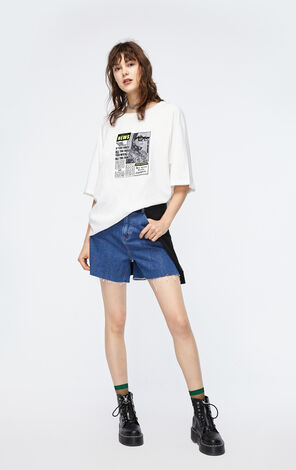 ONLY 2019 AutumnWomen's Loose Fit 100% Cotton Contrasting Print T-shirt|119330510