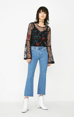 ONLY Summer New Women's Two-piece Embroidered See-through Long-sleeved T-shirt|117302505