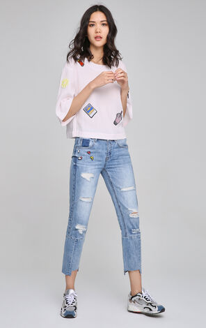 ONLY Spring New Women's Straight Fit Ripped Crop Jeans|117149548