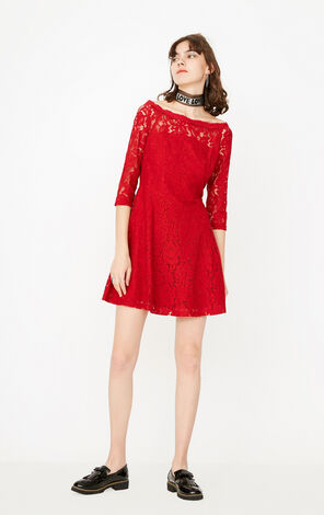 ONLY Summer Boat Neck See-through Lace Dress |117307513