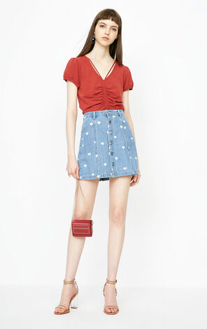 ONLY 2018 summer women's  new single-breastedA-line denim skirt | 118237502