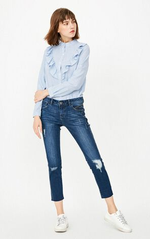 ONLY Women's Autumn Low-rise Frayed Slim Fit Crop Jeans |117349569