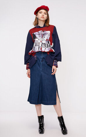 ONLY New Loose Fit Contrasting Splice Print T-shirt