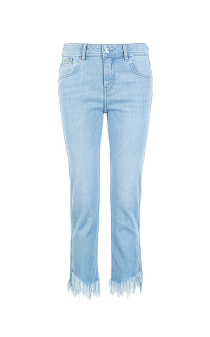 ONLY summer new smiley face cooperation seven-point straight jeans women|11826I516, Blue, large