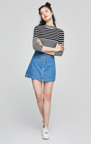 ONLY Women's Spring New 100% Cotton Buttoned A-line Denim Skirt|117237512