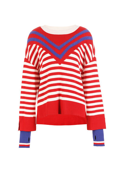 ONLY Winter Women's Loose Fit Fake Two-piece Striped Knit |117424503, Red, large