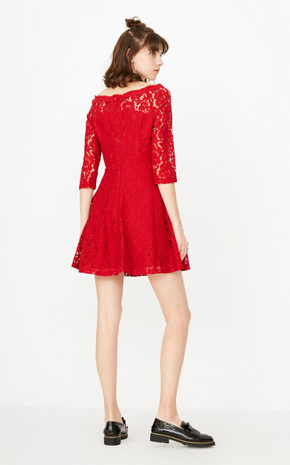 ONLY Summer Boat Neck See-through Lace Dress |117307513, Red, large