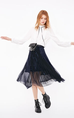 Only 2019 Bright Plated Gauzy Skirt |11911G516