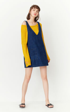 ONLY2019 Spring New Loose Fit 100%Cotton Denim Overalls Dress|117142513