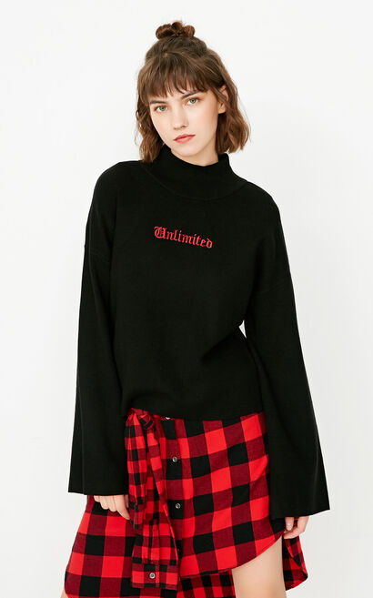 ONLY winter new half-high neck pullover loose sweater women | 117324525, Black, large
