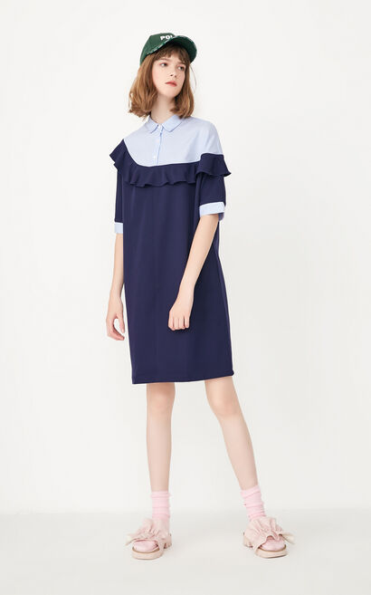 ONLY Women's Summer Loose Fit Ruffled Striped Dress|117307575, Blue, large