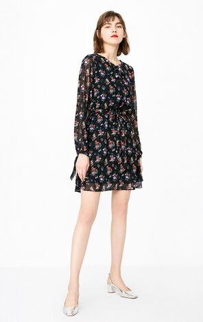 ONLY Lace-up Cinched Waist Floral Chiffon Dress  118107578