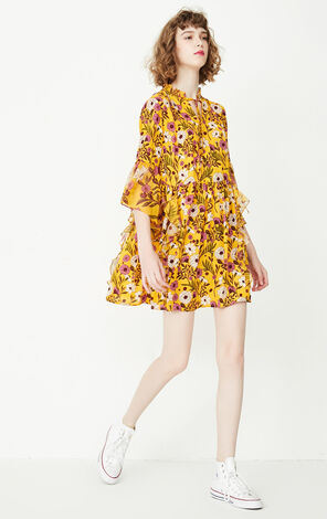 ONLY Summer Mandarin Sleeves Ruffled Chiffon Dress |117307579