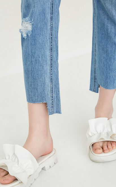 ONLY Women's Summer Frayed Irregular Cuffs Straight Fit Jeans |117249533, Blue, large