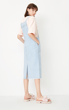 ONLY summer new style pure cotton raw edge denim strap dress women | 117342512