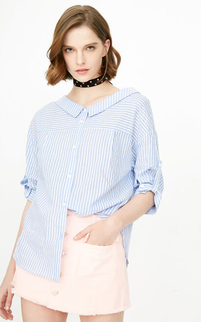 ONLY2019 women's summer new seven-point sleeve v-neck loose striped shirt | 118105529, Aqua, large