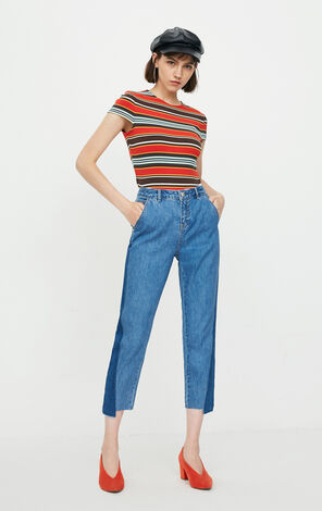 ONLY Women's Summer Spliced Low-rise Crop Jeans |118149580