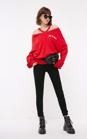 ONLY women's autumn new V-neck strapless letter printed sweater | 11839S509