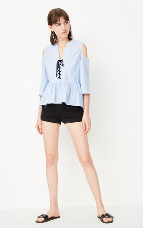 ONLY Women's Summer 100% Cotton Ruffled Low-high Shirt |117331523