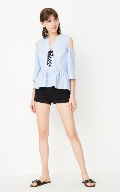 ONLY Women's Summer 100% Cotton Ruffled Low-high Shirt |117331523, Blue, large