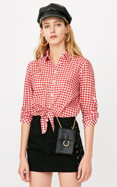 ONLY2019 women's summer new style cotton tie small fresh loose shirt | 118131501, Watermelon red, large