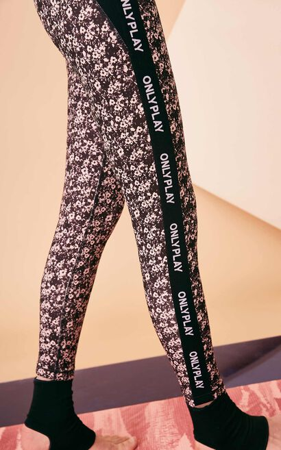 Only  PLAY Sports Series Women's Letter Print Floral Leggings |118165501, Black, large
