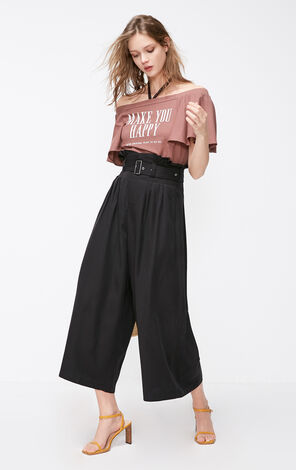 ONLY Summer New Women's Loose Fit High-rise Wide-leg Crop Pants