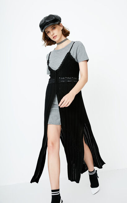 ONLY Summer Two-piece Knitted Slip Dress|118146534, Black, large