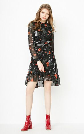 ONLY 2018 Frill Floral Chiffon Dress |118107519