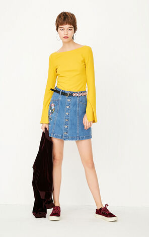 2019 ONLY women's summer new single-breasted denim A-line skirt |117337528