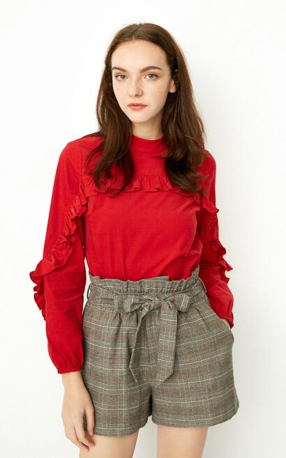 ONLY Winter Women's 100% Cotton Loose Fit Ruffled Long-sleeved Shirt 117451501, Red, large