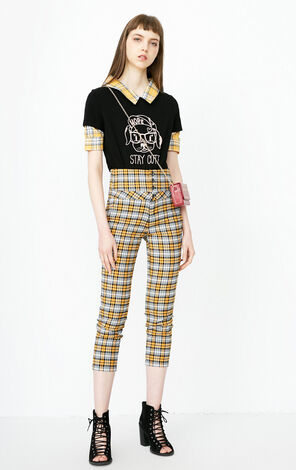 ONLY 2018 summer women's  new high waist cropped  small feet plaid casual pants | 11826J509