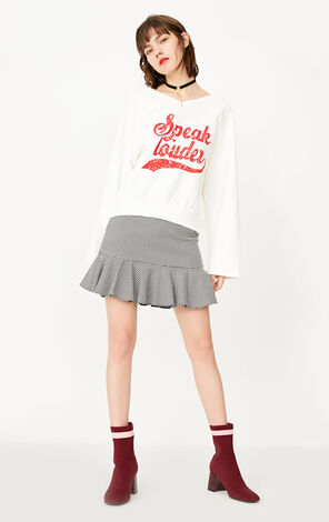 ONLY early spring new product V-neck letter printing wide-sleeved loose sweater women|11819S557