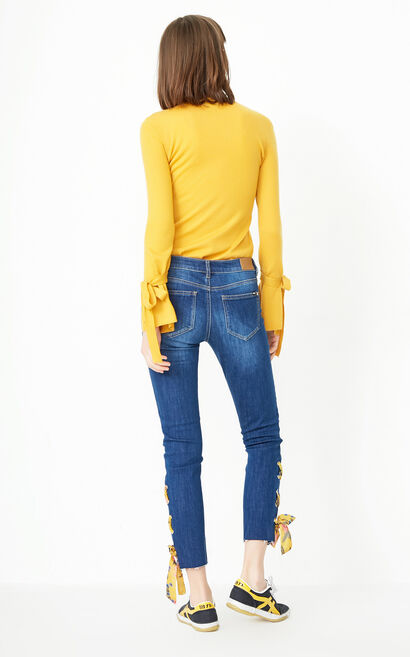 ONLY Women's 2019 Winter Lace-up Crop Jeans |118149656, Blue, large