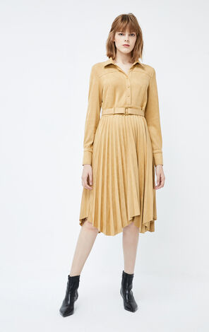 ONLY2019winterNew Suede Long-sleeved Pleated Dress|119461501