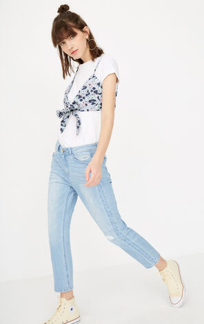 ONLY summer new style frayed low-rise nine-point straight jeans women | 117349509