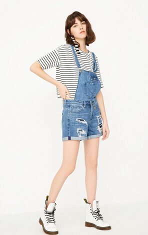 ONLY Women's Spring Frayed Roll-up Denim Overalls |117243507