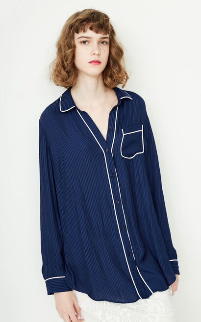ONLY summer new style piping pajamas style loose striped shirt women | 117351512, Blue, large