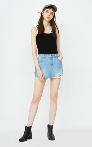 ONLY Summer Letter Print Lace-up Ripped Denim Pantskirt|118243529