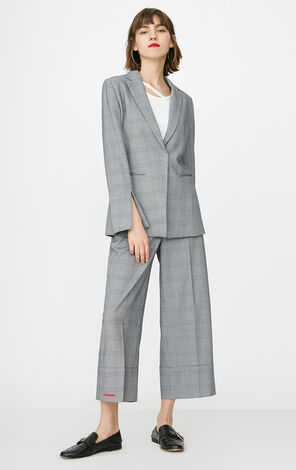 ONLY 2019 Women's Houndstooth Pattern Slim Fit Cinched Waist Blazer |118108514