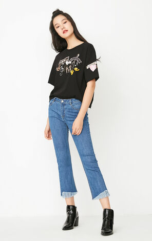 ONLY Summer New Women's Looses Fit Cartoon Print Elbow Sleeves T-shirt|117301571