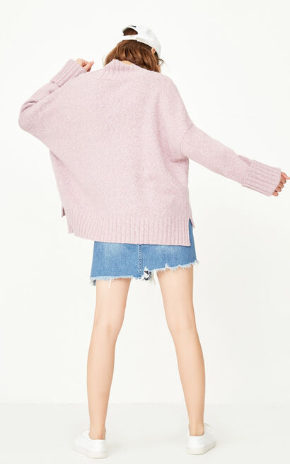 ONLY early autumn new product cuffed cuffs short front and long loose wool sweater women | 117325502, Pink, large