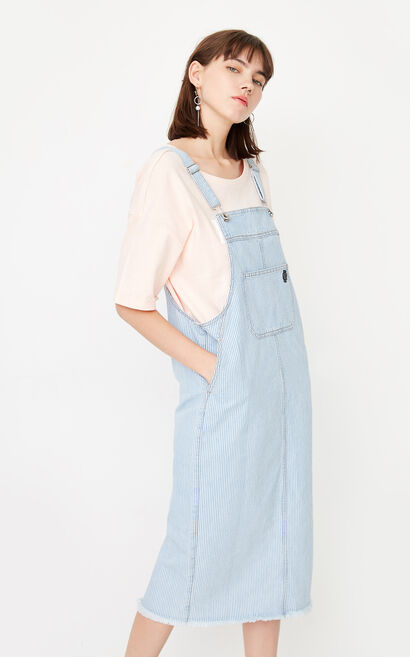 ONLY summer new style pure cotton raw edge denim strap dress women | 117342512, Blue, large