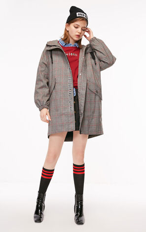 ONLY  2018 winter women's  new letter hooded trenchcoat jacket | 118336541